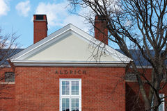 06.04.2011, USA, Harvard University, Aldrich. Boston Harvard University Aldrich upside sunny day brick wall Stock Photography