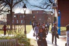 06.04.2011, USA, Harvard University, Aldrich, Spangler, students. Boston Harvard University Aldrich Spangler students sunny day happy Stock Photography