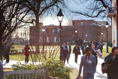 06.04.2011, USA, Harvard University, Aldrich, Spangler, students. Boston Harvard University Aldrich Spangler students walking smiling sunny day happy Stock Image