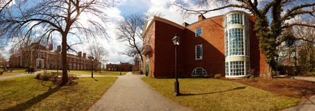 USA, Harvard University, Bloomberg. Harvard University, building facade, Bloomberg, lamppost Royalty Free Stock Image