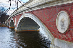 06.04.2011, USA, Harvard University, bridge. Boston Harvard University bridge clouds water river Royalty Free Stock Images