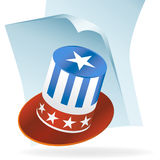 USA Hat Document Icon. 3d top hat decorated in an American flag pattern - document icon Stock Image