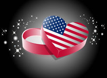 USA Heart Shape Gift Box Royalty Free Stock Photos