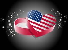 USA Heart Shape Gift Box vector illustration