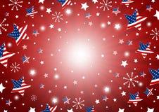 USA-Hintergrunddesign von Amerika-Flagge im Stern und in den Feuerwerken Stockbilder