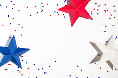 USA holiday decorations on a white background. Flat lay Stock Photos