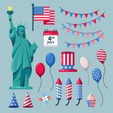 USA holiday icons and design elements for 4 of July Independence Day celebration. Vector illustration.  Royalty Free Stock Image