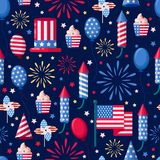 USA holiday seamless white pattern. Vector print background. American national symbols, celebration Independence Day. USA holiday seamless navy pattern. Vector Stock Photo