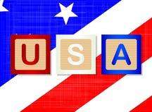 USA-Holzklotz-Blockschrift Lizenzfreies Stockfoto