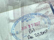 USA Homeland Security Admitted stamp. MONTREAL, CANADA - SEPTEMBER 8, 2018: USA Homeland Security Admitted stamp in Canadian passport royalty free stock photos