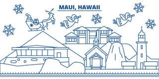 USA horisont för Hawaii, Maui vinterstad Glad jul och det lyckliga nya året dekorerade banret Vinterhälsningkort med royaltyfri illustrationer