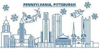 USA horisont för Pennsylvania, Pittsburgh vinterstad Glad jul och det lyckliga nya året dekorerade banret vinterhälsning vektor illustrationer