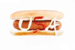 USA Hot Dog isolated on white Royalty Free Stock Photo