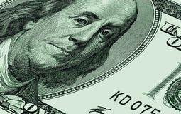 USA hundra dollar vid CU Arkivbild