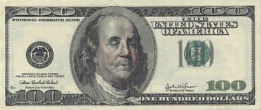 USA hundra dollarräkning med fulla Ben Arkivbilder