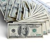 USA hundra dollarräkningar Royaltyfri Fotografi