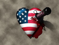 USA Hurt. High Resolution USA Heart Stabbed by Knife Stock Photos
