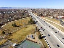 USA-huvudväg 36 i Denver Arkivfoto