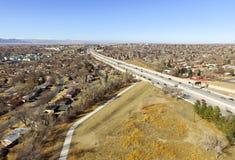 USA-huvudväg 36 i Denver Fotografering för Bildbyråer