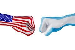 USA i Argentyna flaga Pojęcie walka, biznesowa rywalizacja, konflikt lub wydarzenia sportowe, Zdjęcia Stock