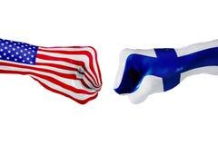 USA i Finlandia flaga Pojęcie walka, biznesowa rywalizacja, konflikt lub wydarzenia sportowe, Zdjęcia Royalty Free