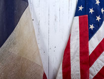 USA i Francja flaga Zdjęcia Stock