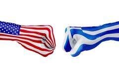 USA i Grecja flaga Pojęcie walka, biznesowa rywalizacja, konflikt lub wydarzenia sportowe, Zdjęcia Stock