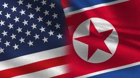 Usa i Północna Korea Realistyczna połówka Zaznaczają Wpólnie royalty ilustracja