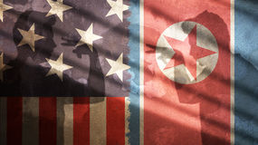 Usa i Północnego Korea flaga Zdjęcie Stock
