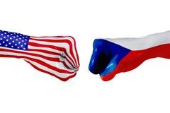 USA i republika czech flaga Pojęcie walka, biznesowa rywalizacja, konflikt lub wydarzenia sportowe, Obraz Royalty Free