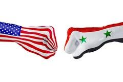 USA i Syrii flaga Pojęcie walka, biznesowa rywalizacja, konflikt lub wydarzenia sportowe, Zdjęcie Stock