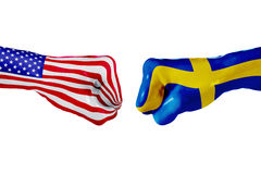 USA i Szwecja flaga Pojęcie walka, biznesowa rywalizacja, konflikt lub wydarzenia sportowe, Obraz Stock