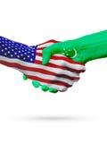 USA i Turkmenistan flaga pojęcia współpraca, biznes, sport rywalizacja royalty ilustracja