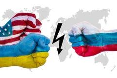USA i Ukraina versus Rosja obraz royalty free