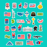 USA icon. National sign of America. American flag and Statue of. Liberty. White House and  dollar. Map of United States. Uncle Sam and moon. Elephant and donkey Royalty Free Stock Images