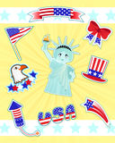 USA icons. Collection of icons related to the USA and 4th of july stock illustration