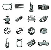 USA Icons Freehand 2 Color Stock Image