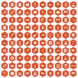 100 USA icons hexagon orange. 100 USA icons set in orange hexagon isolated vector illustration Stock Illustration