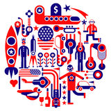 USA Icons - round vector Stock Image