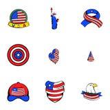 Usa icons set, cartoon style. Usa icons set. Cartoon illustration of 9 usa vector icons for web Royalty Free Stock Photo