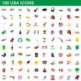100 usa icons set, cartoon style. 100 usa icons set in cartoon style for any design illustration vector illustration