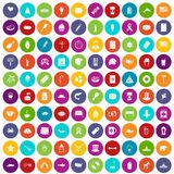 100 USA icons set color. 100 USA icons set in different colors circle isolated vector illustration Royalty Free Stock Images