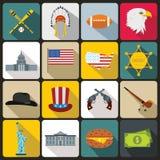 USA icons set, flat style Stock Images