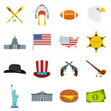 USA icons set, flat style Royalty Free Stock Photo