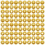 100 USA icons set gold. 100 USA icons set in gold circle isolated on white vector illustration Royalty Free Stock Image