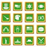 USA icons set green Royalty Free Stock Image