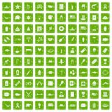 100 USA icons set grunge green. 100 USA icons set in grunge style green color  on white background vector illustration Royalty Free Stock Images