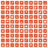 100 USA icons set grunge orange. 100 USA icons set in grunge style orange color isolated on white background vector illustration Stock Photo