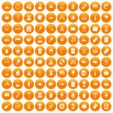 100 USA icons set orange. 100 USA icons set in orange circle isolated on white vector illustration royalty free illustration