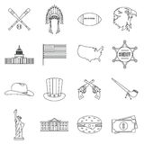 USA icons set, outline style Stock Image